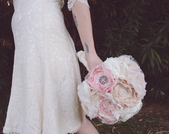 Lace fabric bouquet, blush bride bouquet, brooch bouquet, vintage style bouquet