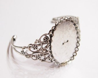 2 of 40x30 mm Antique Silver Art Deco Cuff Bracelet Settings,  Great for Cameos, Cabs, or Glass