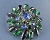 This item is ON SALE Large done Blue green Glass Rhinestone Brooch - Pin with V Clasp Silver tone broach Bling