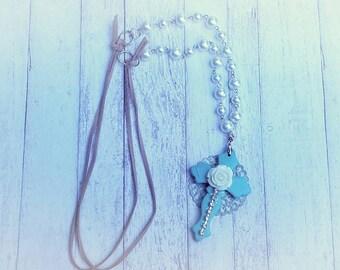 Handmade vintage pearl cross filagree necklace