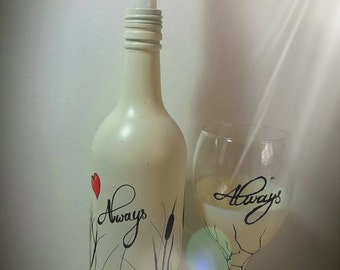 Always, Wine glass & Wine bottle candle holder / vase....MADE TO ORDER