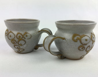 Wheel Thrown Stoneware Pottery Coffee Mugs Set of 2