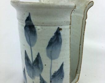 Handmade Wheel Thrown Pottery Sponge Holder White Blue Flora