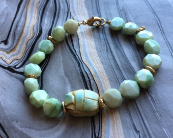 Green Opal and Scarab Beetle Bracelet