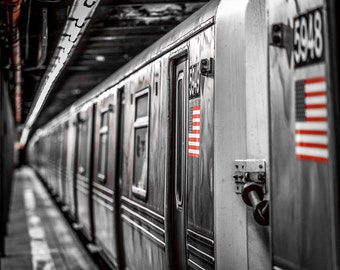 Black and white photography, New York Photography, subway american flag, NYC art, NYC urban decor, NYC design personalized, black red