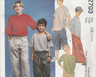 McCall's 2703 Size 3-4-5 or 4-5-6 Children's and Boys' Pants in Two Lengths Sewing Pattern 2000 UnCut