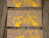 Unique Gift Bags Screen printed with Wire Car Design in Yellow ink