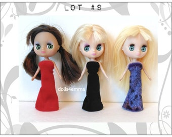 DOLL CLOTHES Lot of 3 Goth Gowns handmade for Littlest Pet Shop BLYTHE Petite Lot #9