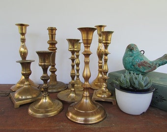 Brass Candle Holders Vintage Collection 0f 9