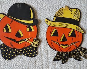 Vintage Halloween Decorations Pumpkin Jack O'lanterns Beistle