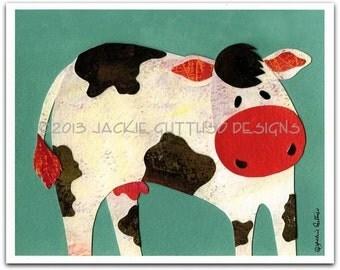 """Cow art, 8 x 10"""" Giclee print, Farm nursery wall art, Farm animal decor, Whimsical cow, Animal nursery collage, Acrylic cow painting print"""