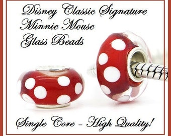 Minnie Mouse Iconic Face Murano Bead Sterling Silver Core