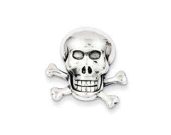 Sterling Silver Skull with Cross Bones Pendant