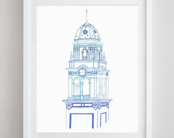 Kansas City Plaza Blue Watercolor Print
