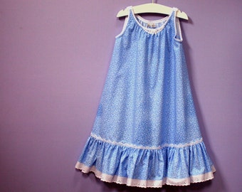 Girls Nightgown, size 5,  Sky Blue Mini-Floral with white eyelet embroidery