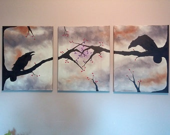 "Raven ""Lovers"" 48""x 20"". Acrylic Triptych Painting, wall hanging, home decor wall decor housewares."