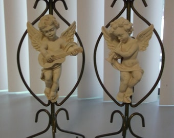 Cottage Chic Cherub Candle Holders