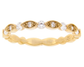Marquise & Round gold and diamond eternity band