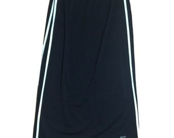 1990s VERSACE Black Maxi Skirt Stretchy with White Side Stripes // Health Goth // Size XL