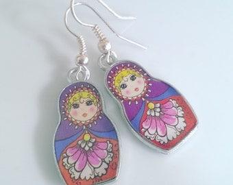 Russian Doll - Purple Earring Set