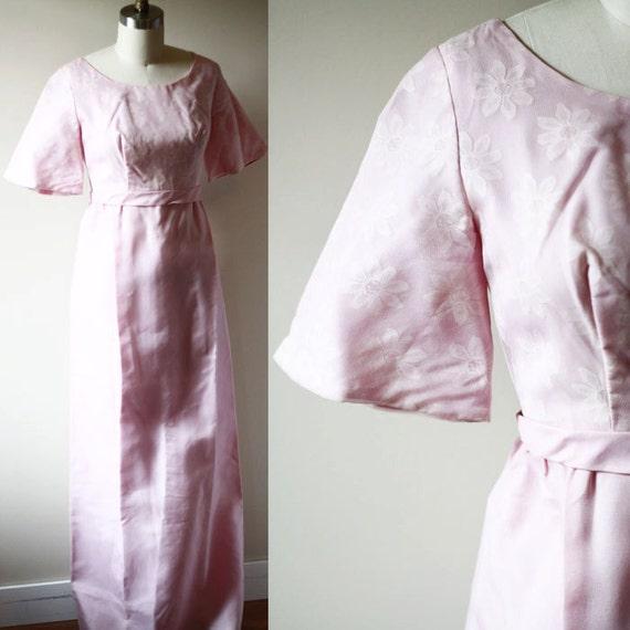 1960s purple daisy maxi dress // 1960s party dress // vintage dress