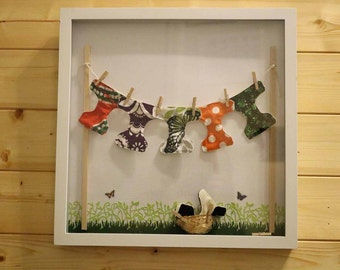 Cloth Diaper Clothes Line Shadow Box, Baby Shower Gift, Nursery Decoration, One of a Kind Treasure!