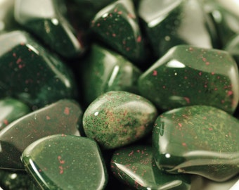 Bloodstone-Tumbled Bloodstone-High Grade Tumbled Bloodstone-Natural Bloodstone-Bloodstone Jasper-Victorian Bloodstone-Green Bloodstone