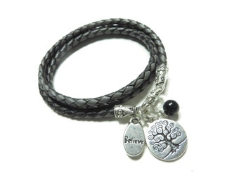Spiritual Leather Wrap Bracelet,Tree Of Life Jewelry,Yoga Jewelry,Braided Leather,Triple Bolo Bracelet,Black,Gray,Believe Bohemian Bracelet