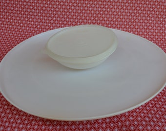 Vintage Tupperware Dip N Serve - Chip and Dip Platter - Serving Tray - Tupperware White Party Platter 492