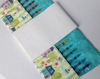 Color Pencil Case with Houses, Bicycles, and Boats with Turquoise Accents