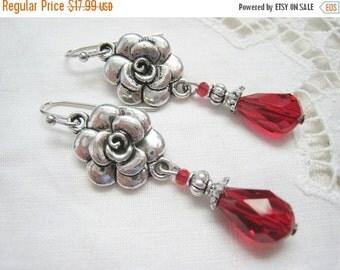 SALE Romantic Flower Victorian Antique Vintage style Rose Flower Dangle Red Czech Glass Teardrop Bead Earrings Antique Silver plated
