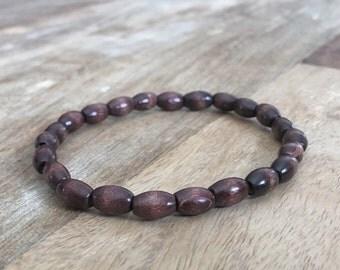 Men's & Women's Beaded Bracelet with Dark Brown Wood Beads 8mm Wide Unisex Wood Beaded Bracelet