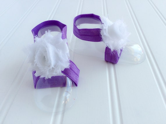Flower Girl Baskets Canada : Baby barefoot sandals purple bottomless by
