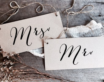 Mr Mrs Signs, Wedding Signs, Kraft Wedding Signs, Rustic Wedding Signs, Wedding Chair Signs, Mr Mrs, Chair Signs