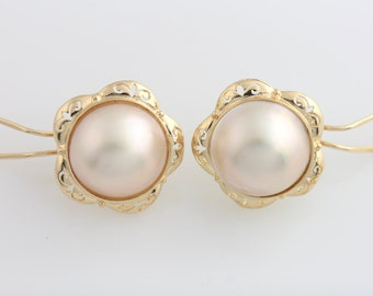 Ladies Estate 14K YG 15.5mm Mabe Pearl Floral Omega Back Pierced Earrings Studs