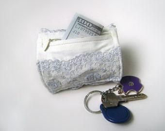 Bracelet - purse . Wrist Wallet . Wide lace bracelet with a secret . Bracelet soft blue . Braslet- wallet . Wallet money cuff .