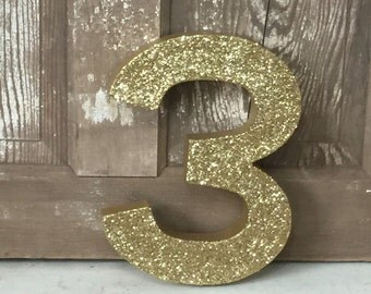 """Gold Glitter 12"""" Decorative Birthday Party Numbers, Graduation, Anniversary, Wedding Reception Table Numbers, Photo Prop"""