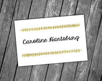 Wedding Place Cards Printable, Wedding Name Cards, Wedding Name Tags, Wedding Printables, Wedding Stationery - Gold Leaves