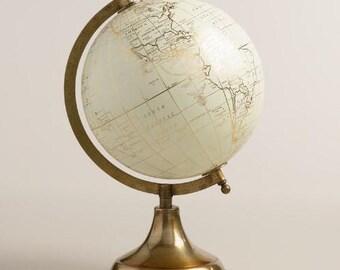 Customize Me! Custom globe, calligraphy globe, hand lettered globe, white and gold globe, gold globe, quote globe, globe base world globe