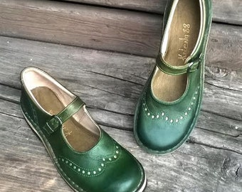 Handmade maryjanes TEIDE in GREEN