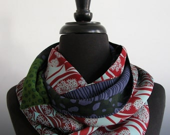 Sally Jones infinity scarf of Silk georgette