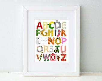 Barnyard Farm Alphabet Art Print, Children's Art for Nursery or Kid's Room