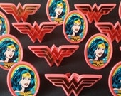 24 Wonder Woman rings for cupcake toppers cake birthday party favors goodie bag Superhero super hero comic book retro vintage look girl