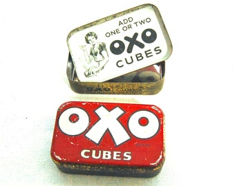 """British Vintage 'OXO' Cubes TIN """"Add One or Two OXO Cubes"""""""