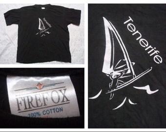 Vintage Retro Men's T-shirt Tenerife Windsurfing Firefox Black White Tshirt Silk Screen Short Sleeve XL