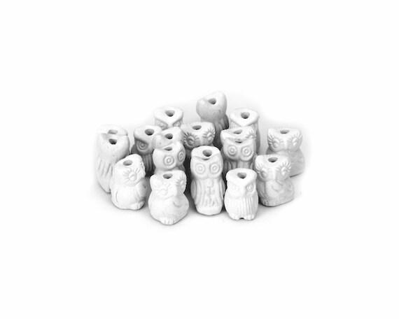 5 owl beads ceramic bisque paintable pottery craft for Bisque ceramic craft stores