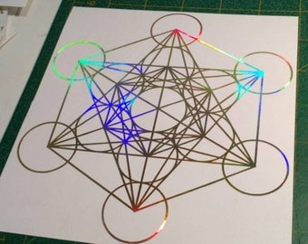 "Metatron's Cube, Vinyl Sticker, Window Decal, Prismatic Rainbow Gold Or Silver, 5.75"" Size, Small"