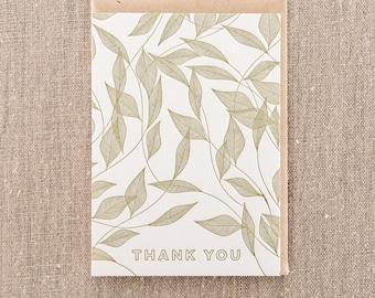 Thank You Vine Leaves Letterpress Greeting Card
