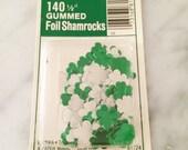 Shamrock Stickers, Green Foil Shamrock, Vintage Stickers, St Patricks Day 1960s, Shamrock Craft