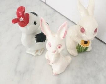Vintage Easter Rabbit, Vintage China Duck, Easter Decor, Easter Figurines, Made in Japan